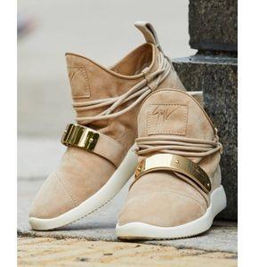 Giuseppe Zanotti tan suede singlesc sneakers